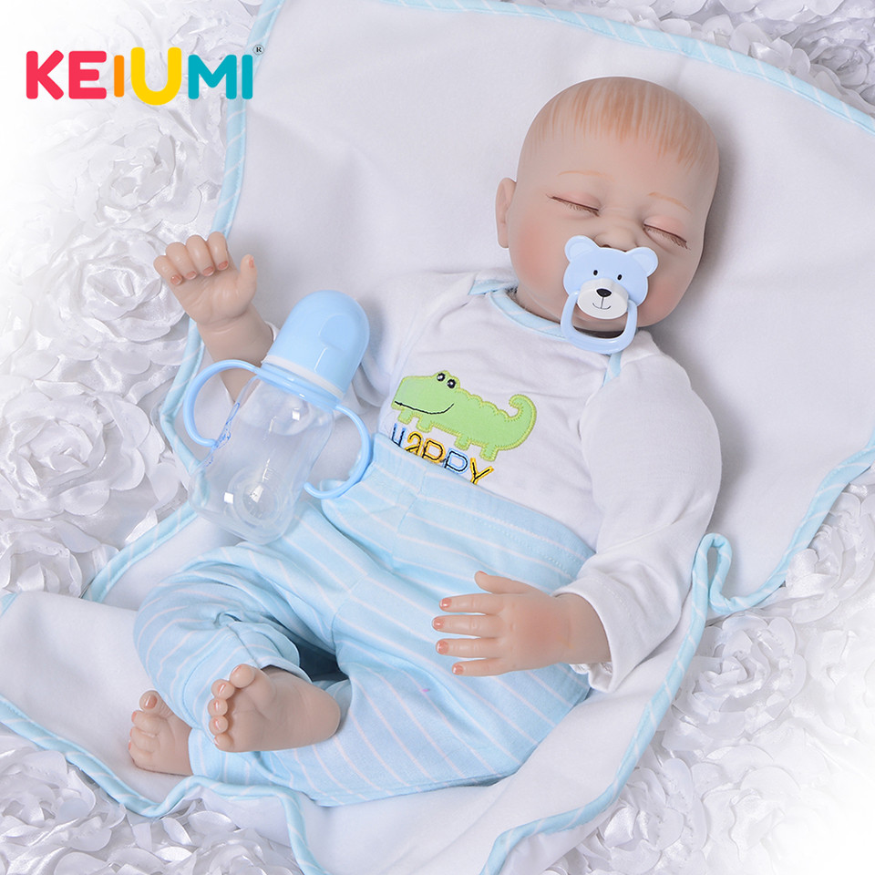цены 22 Inch Realistic Silicone Reborn Baby Dolls Lifelike 55 cm Sleeping Baby Boy Cloth Body Vinyl Babies Doll Newborn Kids Playmate