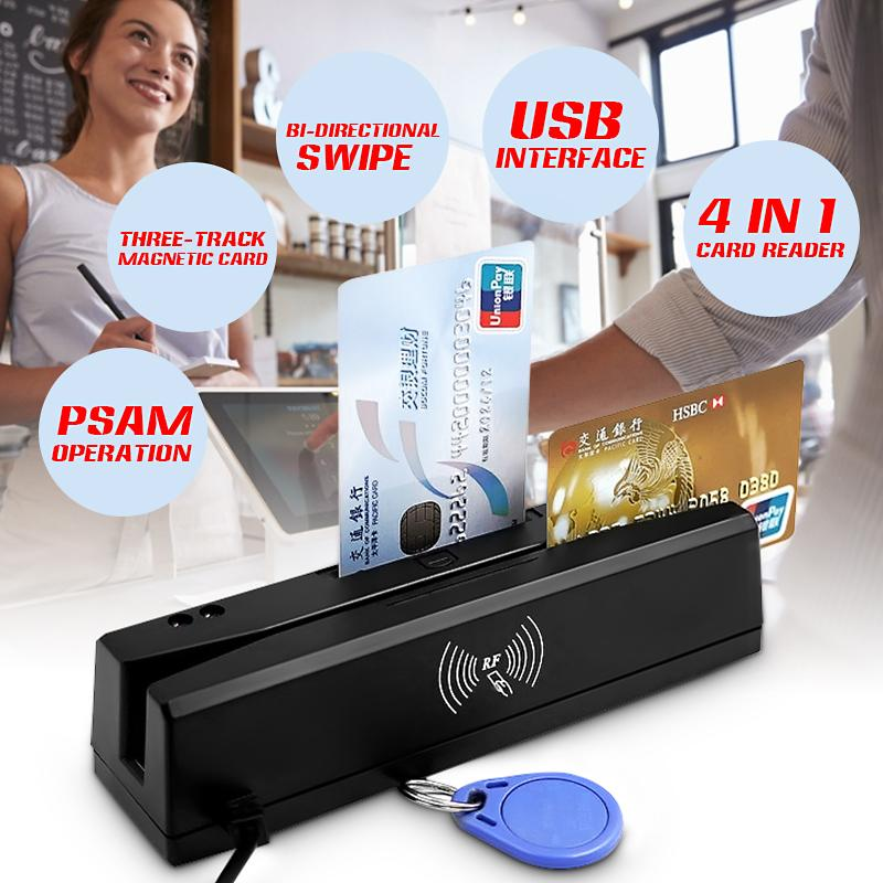 Hot ZCS160 4 en 1 noir 8K bande magnétique carte de crédit EMV IC puce RFID PSAM lecteur écrivain 2-in-1multi-fonction lecteur de carte