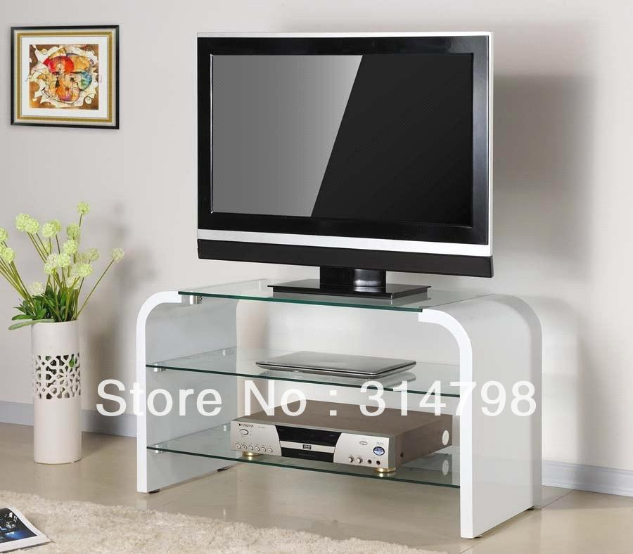 White tv stand made of mdf with painting modern tv for Glass living room furniture