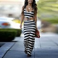 New Summer Dress Floor Length Maxi Women Dress Black White Striped Two Piece Set Sleeveless Elegant Sexy Lady Casual Long Dress