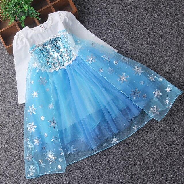 2608c155e € 5.9 18% de DESCUENTO|Aliexpress.com: Comprar 2018 nuevos vestidos de  primavera ropa de niños princesa Elsa vestido azul trajes completos Diseño  ...