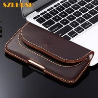 SZLHRSD Vintage Belt Clip Phone Bag for Huawei Y3 Y5 Y6 Y9 Y7 Prime 2018 2017 y6 y5 Y3 II Case Genuine Leather Holster cover