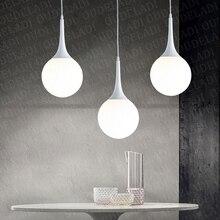Modern loft milk white glass ball pendant light LED E27 Nordic hanging lamp living room restaurant lobby office lamp