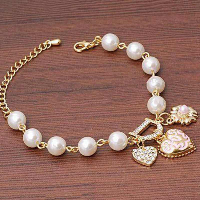 Hot Selling Jewelry Heart Flower Simulated Pearl Rhinestones Inlaid Woman Bracelet Drop Shipping Bracelet