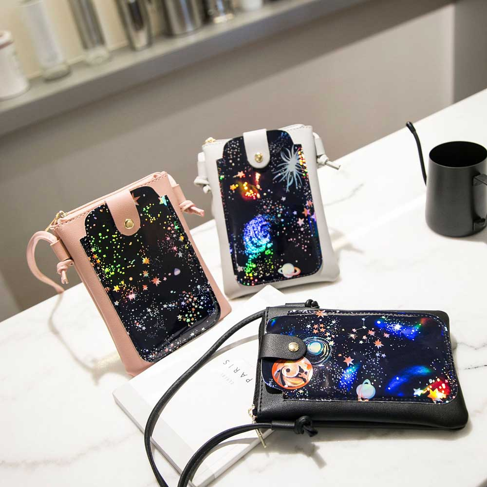KSQ Fashion Universal Leather Cell Phone handbag Shoulder Pocket Wallet Pouch Neck Strap bag Personality pattern coin purse