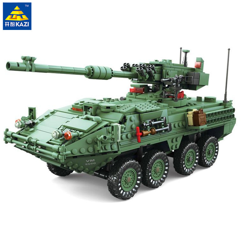 купить KAZI 1672pcs Century Military MGS-M1128 Tank Building blocks set Armored vehicles DIY Bricks Toys for Children онлайн