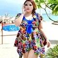 2016 новый летний купальники Большой размер печать женская swearwear костюмы большой размер по беременности и родам купальники pregnagnt плавать платье