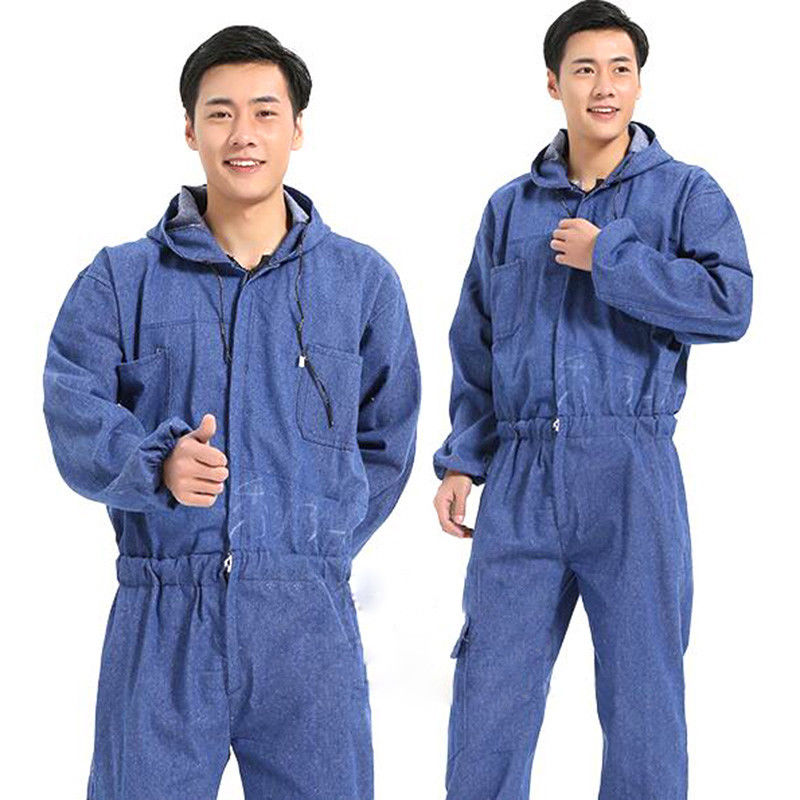 Mens Washed Denim Hooded Overalls Boilersuit Work Jumpsuit Pants Electric Welding Coveralls