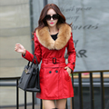 2016 winter women trench leather clothing female large fur collar coat medium-long leather coat women parkas jackets