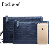 Padieoe Genuine Cow leather Male Day Clutches Durable Casual Card/ID Holder Clutch Bag Large Capacity Blue Color Wallet Handbags