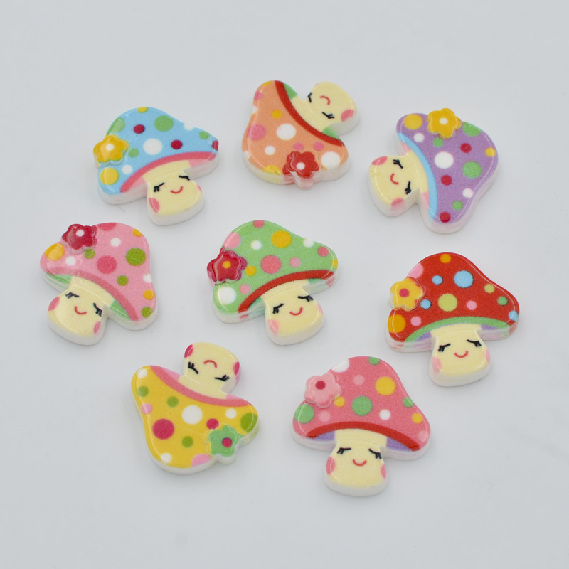 DIY 100Pcs 18mm Resin Hand Painting Mushroom Flatback Stone/Children Scrapbook Crafts K9 ...