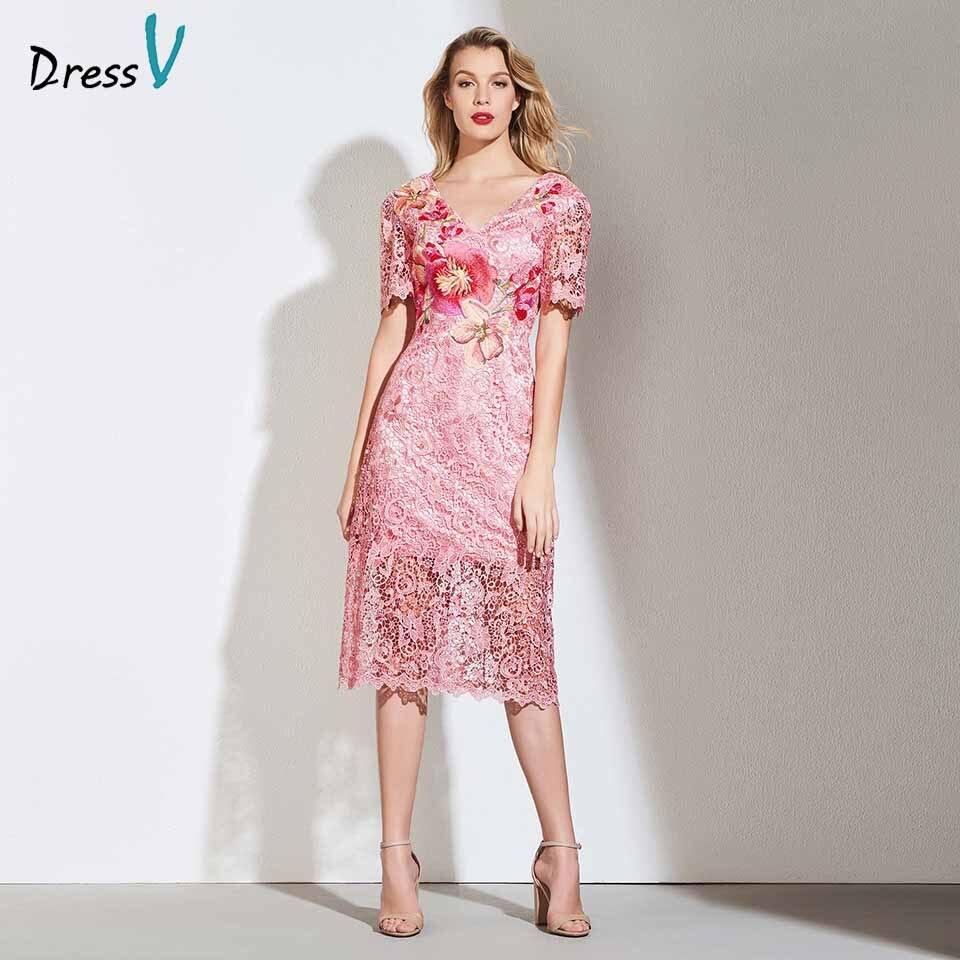 Dressv cocktail dress elegant v neck tea length short sleeves embroidery lace flower wedding party formal dress cocktail dresses