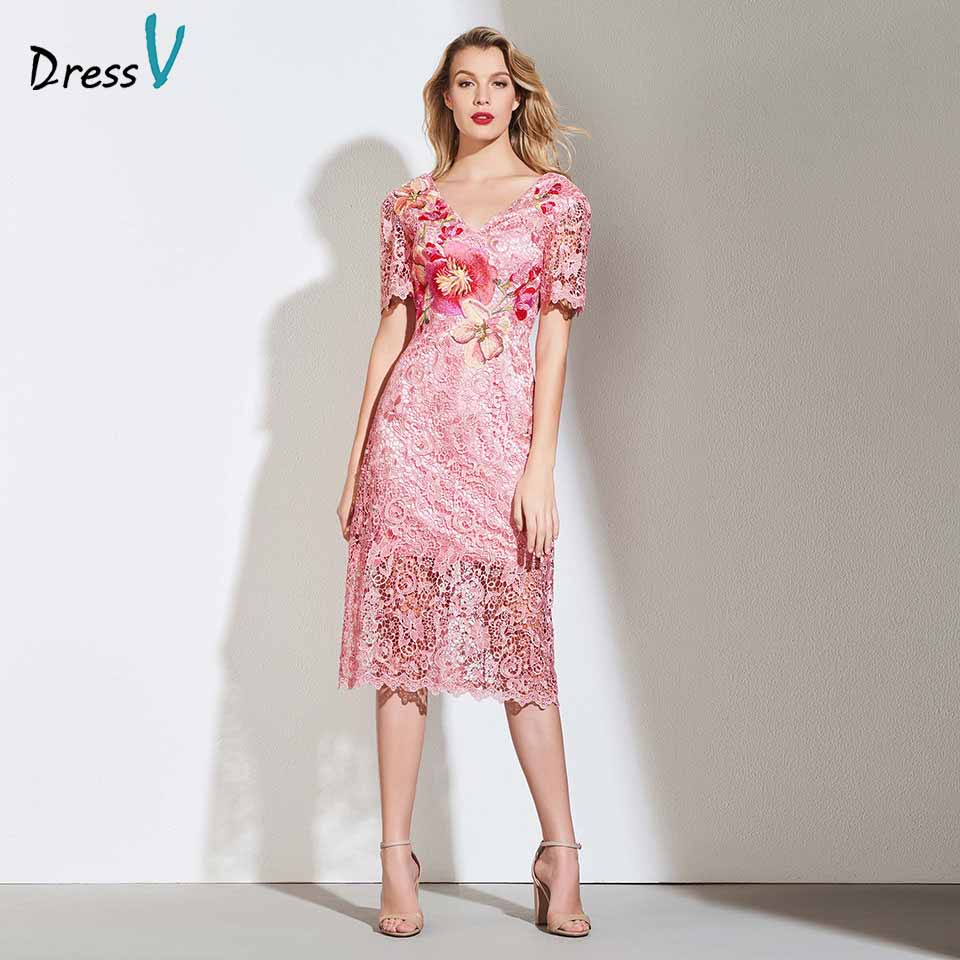 Dressv   cocktail     dress   elegant v neck tea length short sleeves embroidery lace flower wedding party formal   dress     cocktail     dresses