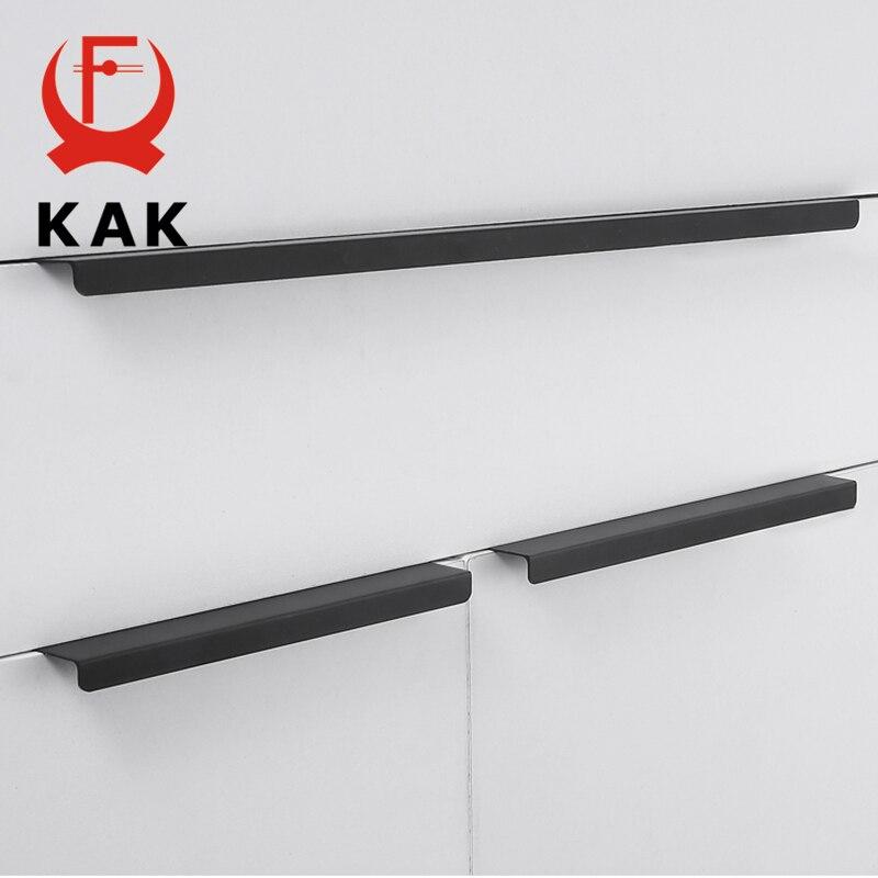 KAK Moda Preto Escondido Gabinete Alças de Liga de Alumínio de Cozinha Puxadores de Gaveta Do Armário Puxa Puxadores para Móveis Hardware Porta Da Sala