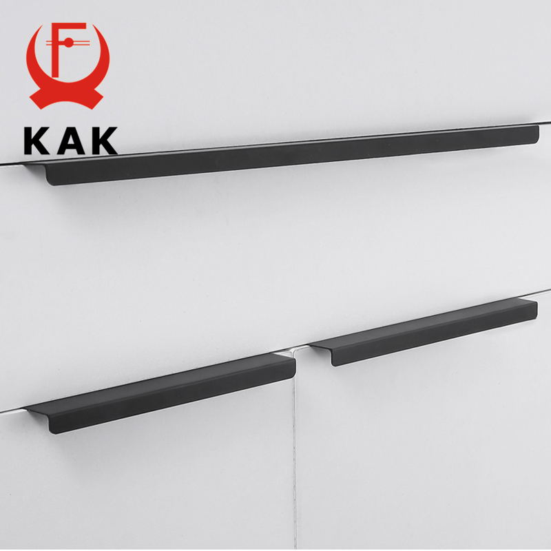 KAK Fashion Black Hidden Cabinet Handles Aluminum Alloy Kitchen Handles Cupboard Pulls Drawer Knobs Furniture Room Door Hardware