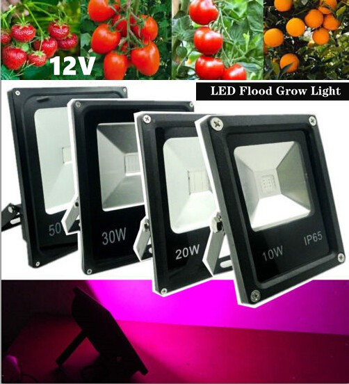 1pcs/lot 12V 10W/20W/30W/50W IP65 Water-resistant Ultra-thin LED Flood Light Plant Grow Light Hydroponic Lamp For Outdoor/Indoor