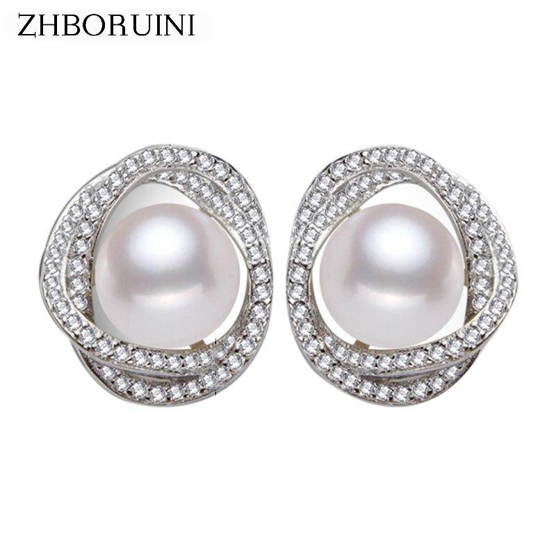 ZHBORUINI 2019 Fashion Pearl Earrings Pearl For Women Jewelry Of Silver Romantic Fresh water pearl Silver Earrings Jewelry Gift