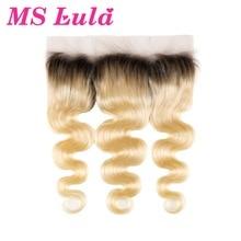 Ms lula волосы Омбре блонд предварительно сорвал 13x4 синтетический fronic 1b/613 бразильские волнистые человеческие волосы remy для наращивания