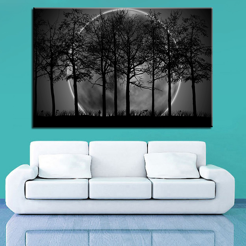 036f3554266 Canvas HD Prints Pictures Wall Art Trees Poster 1 Piece Pcs Black White  Moon Night Psychedelic Forest Paintings Home Decor Frame-in Painting    Calligraphy ...