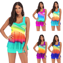 Womens Rainbow Tankini Swimdress Swimsuit Beachwear Padded Swimwear Plus Size Bikini Swim Suit Gradient Beachwear S~5XL 5 Colors floral padded plus size swimdress