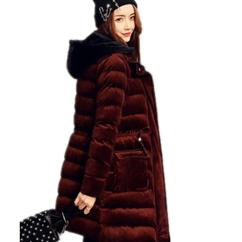 women winter jacket gold velvet thickened   parka   women long jacket