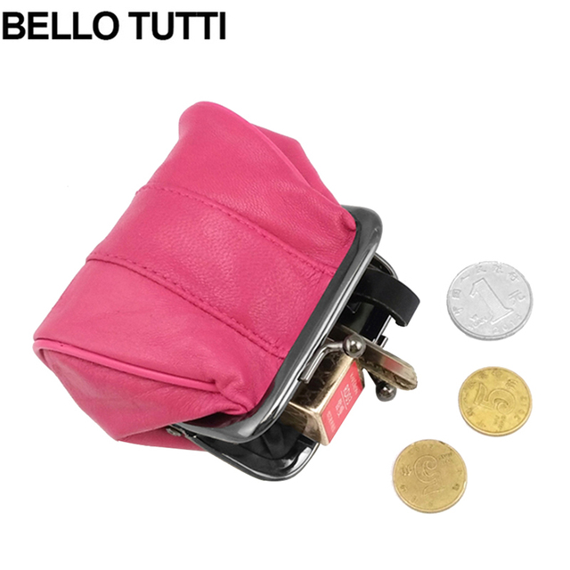 bae41adfc9dfd BELLO TUTTI Genuine Leather Coin Purse Women Coin Wallets Metal Farme Small Change  Purse Mini Coin Purse Women Bag