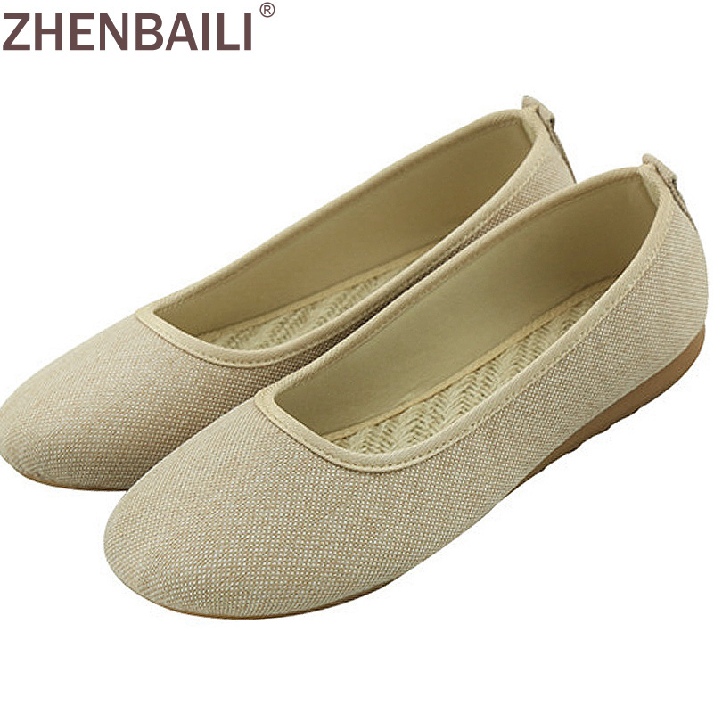 Summer Lladies Fashion Casual Shoes Breathable Canvas Shoes Comfortable Round Sets Of Feet Shoes Color Beige Black Cream Khaki