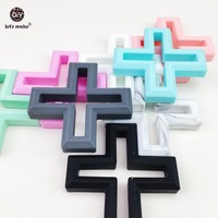 Silicone Cross Teething 5pc Handmade DIY Crafts Play Gym Pendant Sensory Toys Baby Nursing Necklace Baby
