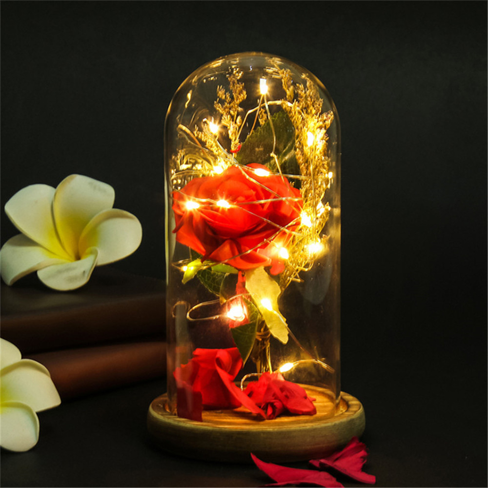 Strong-Willed 1 Pcs Red Rose Glass Bottle Led Night Light Candlelight Dinner Valentines Day Anniversary Gift Lights & Lighting