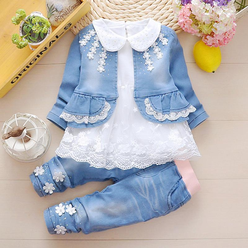 2018 Spring Autumn Infant Baby Girls Denim Clothing Set 3pcs Lace Long Sleeve T Shirts + Jeans Jacket+ Pants Outfit baby fashion clothing kids girls cowboy suit children girls sports denimclothes letter denim jacket t shirt pants 3pcs set 4 13
