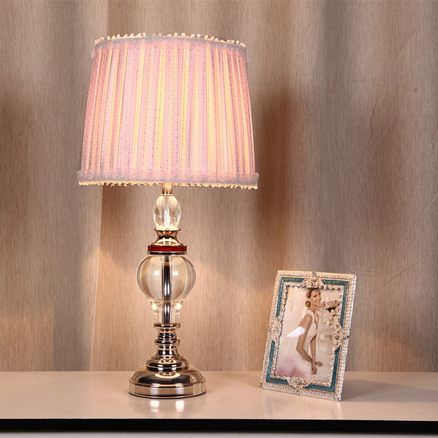 Modern Crystal Table Lamp Bedroom Bedside Pink Princess Room Plaid Fabric Lace Decorative Lighting
