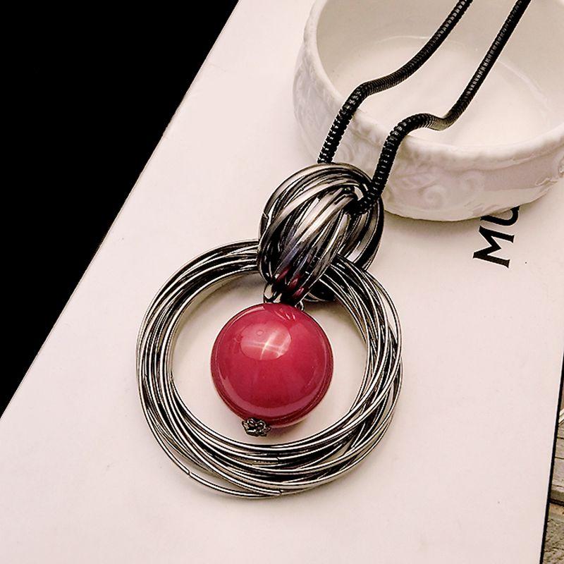 8dde0519e736 Collar largo con colgante de perla roja oceánica collar de cadena negro  para mujer nuevo círculo simulado joyería de moda regalo al por mayor