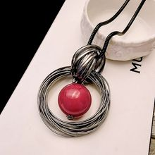 Ocean red  pearl ball pendant long necklace New circles simulated women black chain necklace fashion jewelry wholesale gift