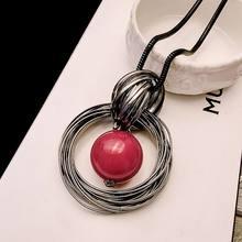 Colgante de bola de perla roja del océano para mujer, collar largo, nuevos círculos, cadena negra de imitación, joyería de moda, regalo al por mayor