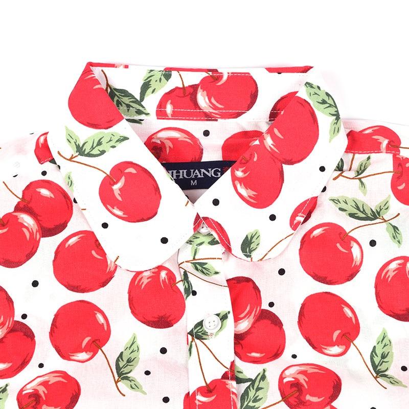QIHUANG vrouwen vrolijke bloemen bedrukte blouse shirt met korte mouw - Dameskleding - Foto 3