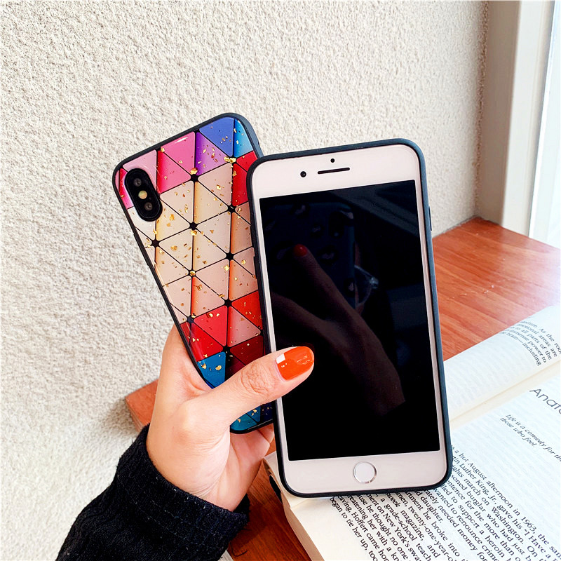 KIPX1087_2_JONSNOW Phone Case for iPhone 6S 7 8 Plus XS XR XS Max Beautiful Colorful Pattern Tempered Glass Back Cover Cases