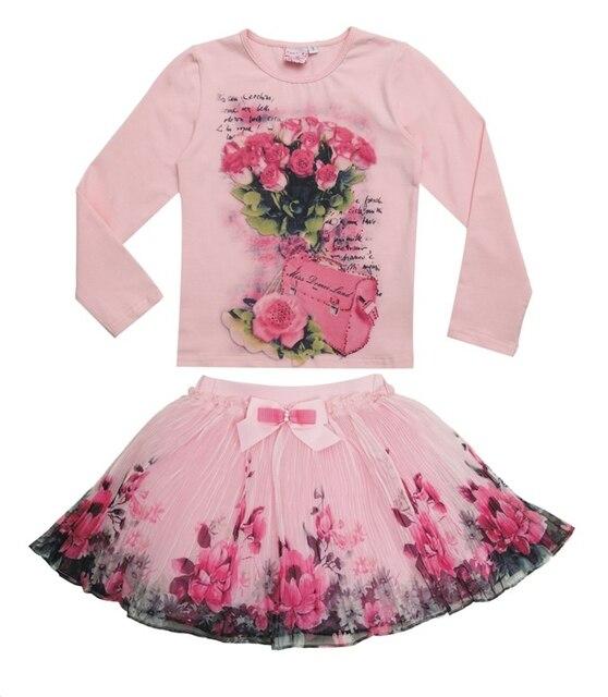 Новинка 2015 осень наряды комплект для детей одежду девушки цветочный рубашки с длинным рукавом + юбки устанавливает с луком одежда
