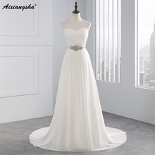 2017 Hot Selling A Line chiffon Wedding Dresses Beading Vestido de Noiva Long cheap crystal Robe De Mariage With Pleats