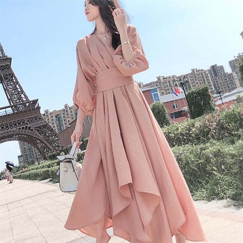 Autumn 2019 New Dress Female Super Fairy Pink Dress Popular Vestidos Female Spring