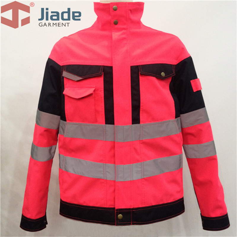 Visibility Jacket Pink Safety Jacket With Reflective Tapes Rain Jacket For Women Work Jacket Workwear