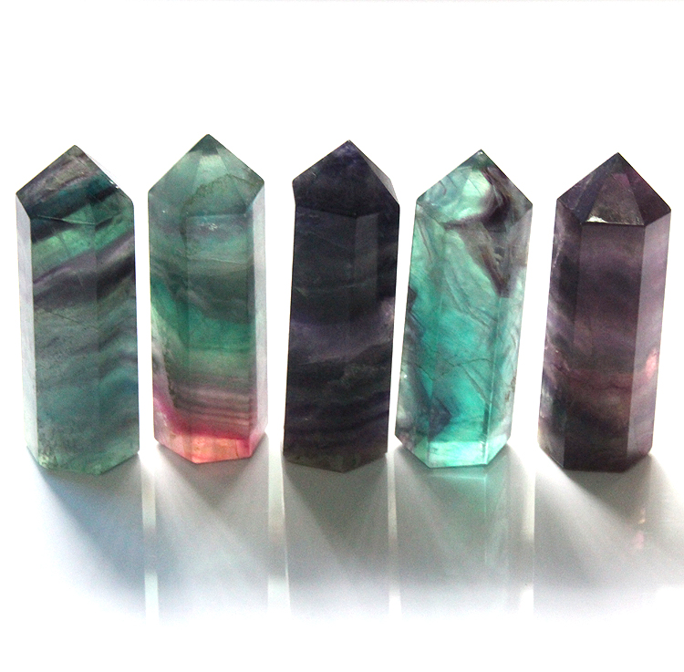 2015 Natural 75*20mm purple green fluorite QUARTZ CRYSTAL WAND POINT Column Sceptres Pillar HEALING Reiki Chakra pendant
