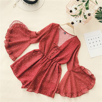 2018 Summer new Vacation retro flare sleeves wide leg chiffon jumpsuit shorts women rompers