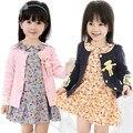 2016 Primavera bebé de las muchachas sudadera de Algodón ama 3D Bearchildren ropa Chándal camisetas niños minnie