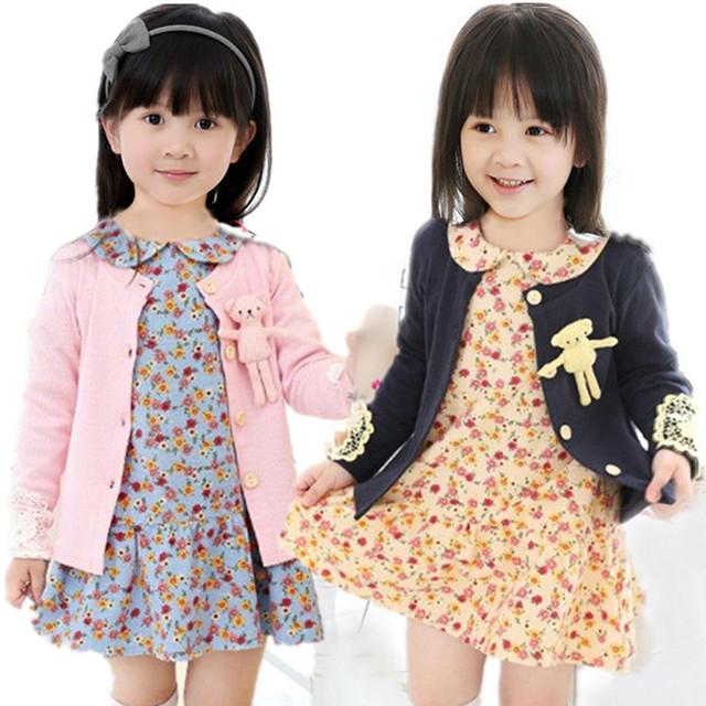 2016 Primavera do bebê meninas camisola de Algodão ama 3D Bearchildren Treino roupas t camisas dos miúdos minnie