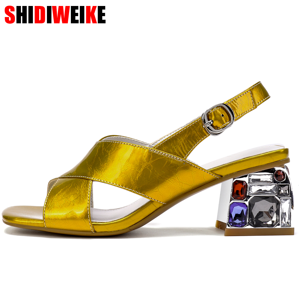 Gold Genuine Leather Sandals Crystal Colorful Clear Block Thick High Heel Wedding Shoes Women Open Toe