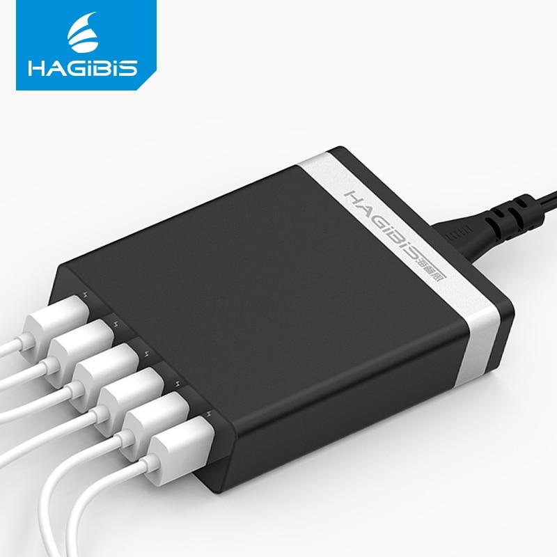 Hagibis Usb Ladegerät 6 Ports Tragbare Reise Wand Ladegerät Adapter 5-port Handy Smart Für Iphone Samsung Ladegerät 5 V/2.4a GläNzende OberfläChe