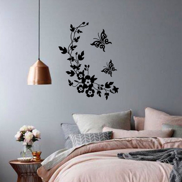 Lowest Price Calssic Black Erfly Flower Wall Sticker Home Decor Poster Flora Erflies Tv
