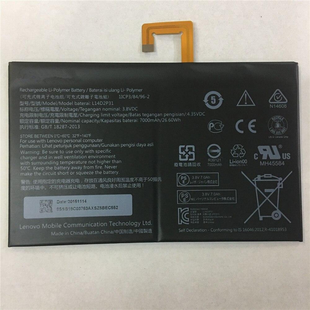 3.8 V 7000 mAh Batteria L14D2P31 26.6Wh Originale Per Lenovo Tab 2 A7600-F A10-70F Tab2 A10-70 A10-70L Batteria