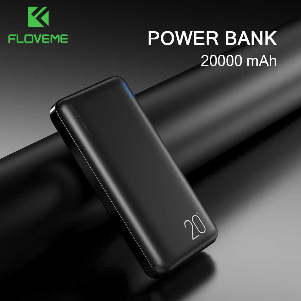 باور بانك من FLOVEME بسعة 20000 مللي أمبير في الساعة لشحن شاومي المحمول مع منفذي USB وبطارية 10000 مللي أمبير في الساعة