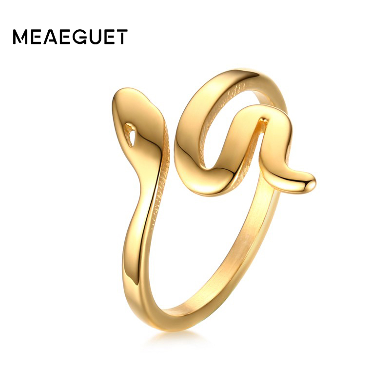Meaeguet Fashion Snake Shape Ring Rustfritt Stål Smykker Gullfarget Bague Serpent Rings For Women Cute Party Smykker